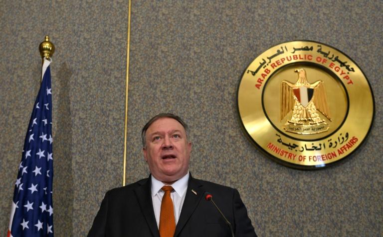 وزير الخارجية الأميركي مايك بومبيو خلال مؤتمر صحافي في القاهرة في العاشر من كانون الثاني/يناير 2019