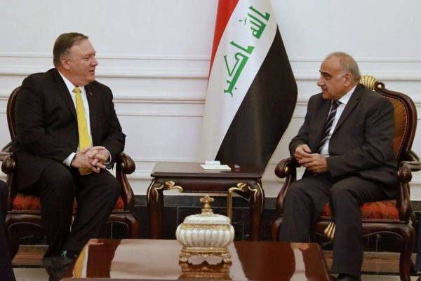 بومبيو مجتمعا في بغداد مع عبد المهدي