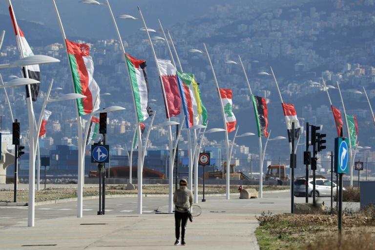أعلام الدول الاعضاء في الجامعة العربية عشية افتتاح القمة الاقتصادية في بيروت في 17 يناير 2019