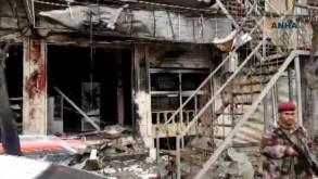 صورة مأخوذة من فيديو نشرته وكالة أنباء هاوار من موقع التفجير الانتحاري في مدينة منبج شمال سوريا