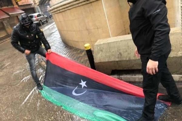 حادثة نزع العلم الليبي ودوسه بالأقدام في لبنان