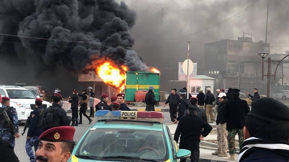 حرائق الاحتجاجات في البصرة