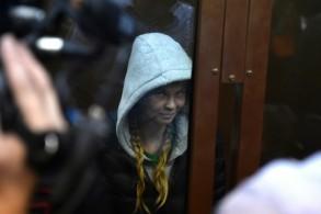 العارضة البيلاروسية أناستازيا فاشوكيفيتش اثناء حضورها جلسة نجديد احتجازها في محكمة في موسكو في 19 كانون الثاني/يناير 2019.
