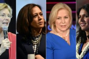 الديموقراطيات اللواتي أعلنّ ترشيحهن للبيت الأبيض إليزابيث وارن وكمالا هاريس وكيرستن غيليبراند وتولسي غابارد (من اليسار إلى اليمين)