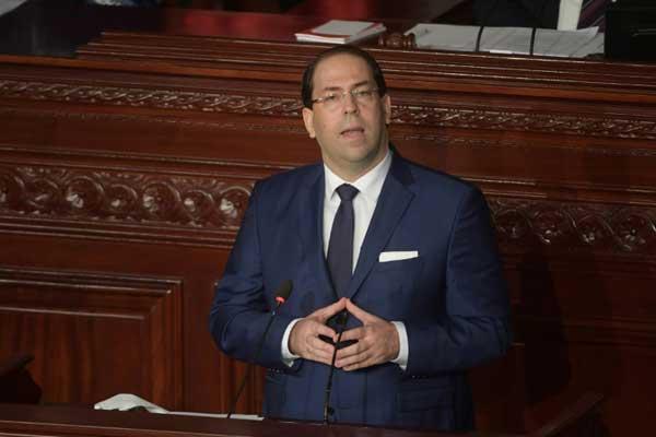 رئيس الوزراء التونسي يوسف الشاهد في البرلمان