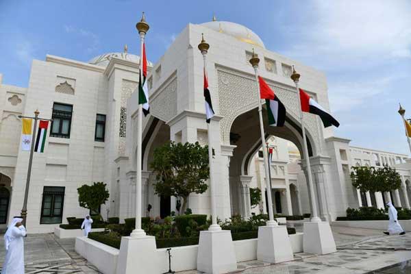 صورة للقصر الرئاسي في دولة الإمارات العربية المتحدة في الرابع من فبراير 2019 خلال حفل استقبال للبابا فرنسيس