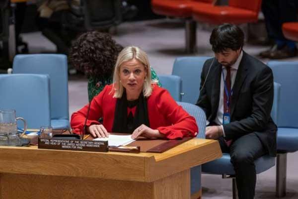الممثلة الخاصة للأمين العام للأمم المتحدة في العراق بلاسخارت تلقي كلمة حول العراق أمام اجتماع مجلس الأمن