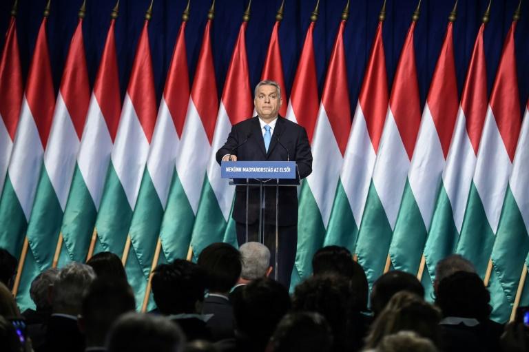رئيس الوزراء المجري فيكتور اوربان يلقي خطاب حالة الأمة أمام اعضاء حزبه ومناصريه في بودابست في 10 شباط/فبراير 2019.