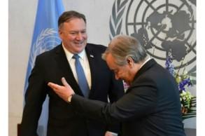بومبيو يبحث أزمة اليمن مع الأمين العام للأمم المتحدة