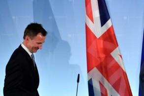 وزير الخارجية البريطاني جيرمي هانت في مؤتمر صحافي في برلين في 20 فبراير 2019