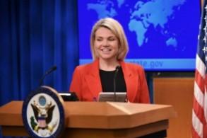 المتحدثة باسم وزارة الخارجية الأميركية هيذر نويرت تتحدث في مقر الوزارة في واشنطن