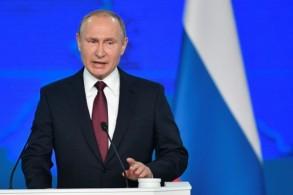 الرئيس الروسي فلاديمير بوتين يلقي خطابه السنوي الموجه إلى الأمة في موسكو في 20 فبراير 2019
