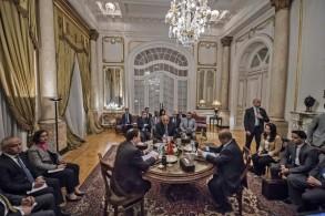 وزراء خارجية مصر وتونس والجزائر خلال اجتماع يوم الثلاثاء في القاهرة
