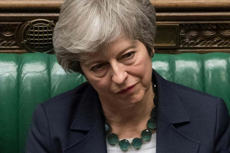 رئيسة الوزراء البريطانية تيريزا ماي في مجلس العموم الأربعاء 13 آذار/مارس 2019