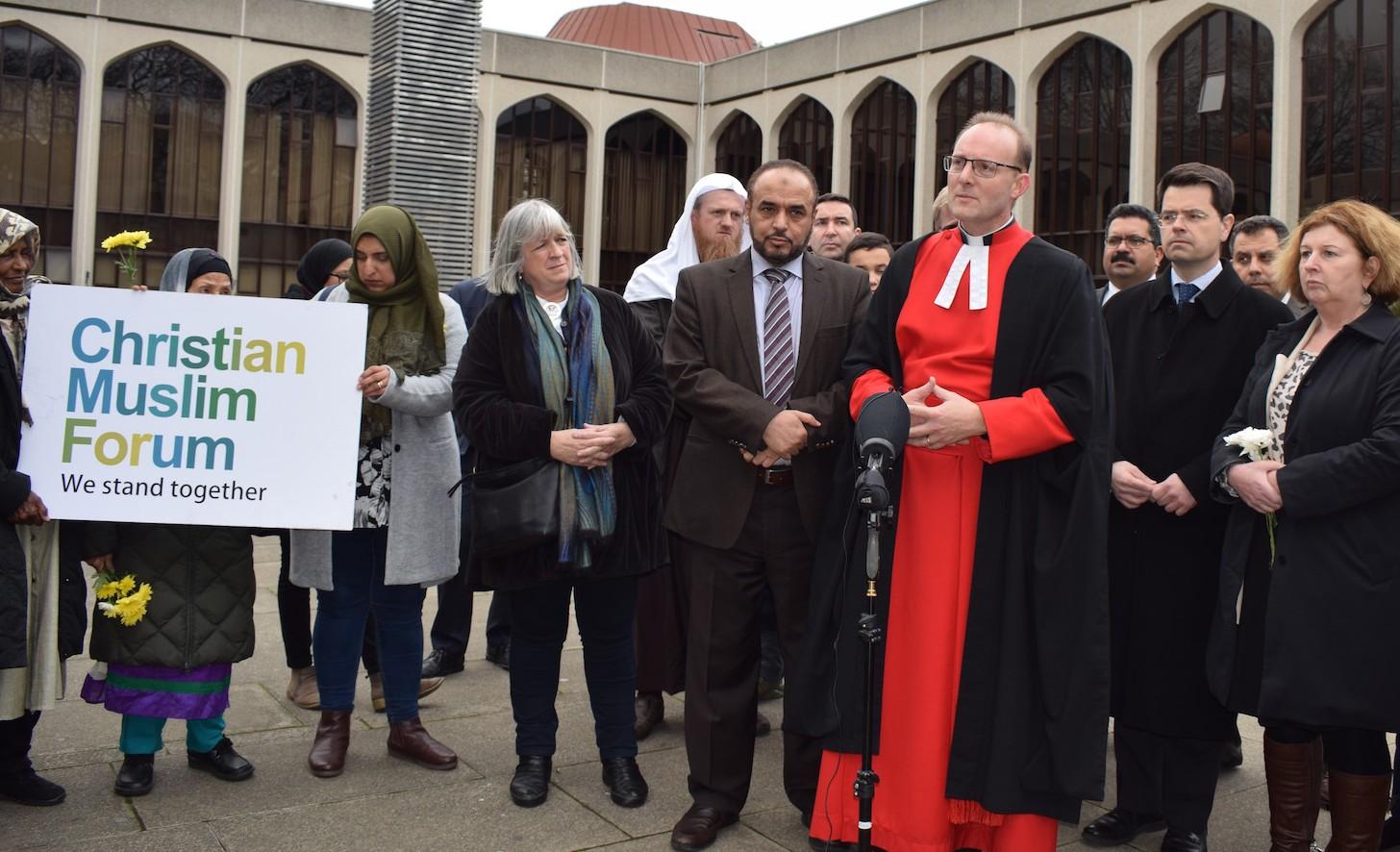 جانب من التجمع الذي نظمه المركز الاسلامي في لندن للتنديد باعتداء نيوزيلاندا