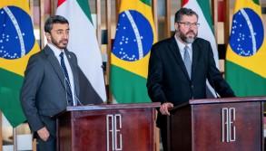التقى جاير بولسونارو رئيس البرازيل السبت الشيخ عبدالله بن زايد آل نهيان وزير الخارجية والتعاون الدولي الاماراتي وذلك في إطار الزيارة الرسمية التي يقوم بها الوزير إلى البرازيل.
