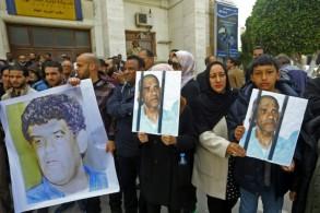 أقرباء وأعضاء في قبيلة الرئيس السابق للاستخبارات العسكرية عبدالله السنوسي في عهد الرئيس الراحل معمر القذافي، يتظاهرون في طرابلس (ليبيا) للافراج عنه في 23 آذار/مارس 2019