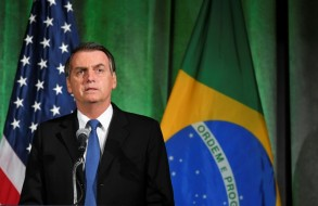الرئيس البرازيلي جاير بولسونارو يتحدث خلال نقاش حول العلاقات الأميركية-البرازيلية في غرفة التجارة الأميركية في واشنطن في 18 آذار/مارس 2019.