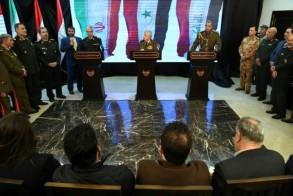 صورة وزعتها وكالة سانا للوزراء الثلاثة في المؤتمر الصحافي المشترك في دمشق الاثنين في 18 مارس 2019