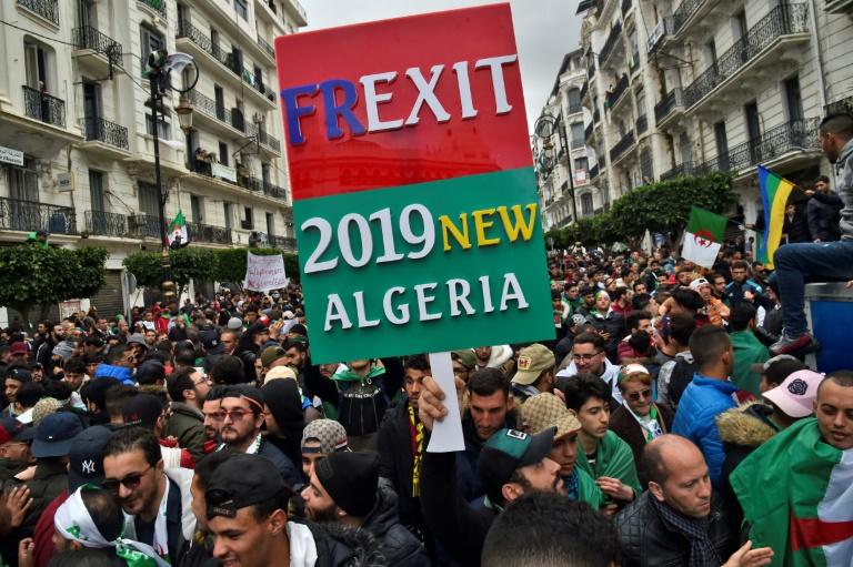 جزائريون يتظاهرون في 22 آذار/مارس 2019 بالعاصمة الجزائرية للمطالبة بتنحي الرئيس عبد العزيز بوتفليقة.