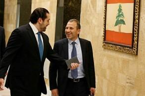 جبران باسيل (يمين) وسعد الحريري