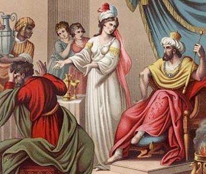 رسم تخيلي للملكة أستير وزوجها الامبراطور الفارسي