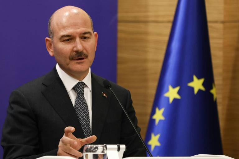 وزير الداخلية التركي سليمان صويلو في مؤتمر صحافي في أنقرة