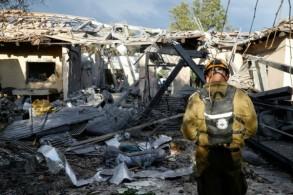 المنزل الذي أصابه صاروخ في ميشميريت في شمال تل أبيب في 25 مارس 2019