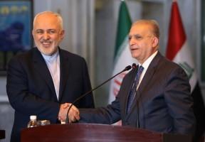 وزير الخارجية الإيراني محمد جواد ظريف (يسار) ونظيره العراقي محمد علي الحكيم