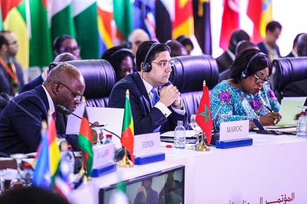 ناصر بوريطة خلال المؤتمر الصحافي