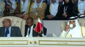 تميم خلال حضوره الجلسة الافتتاحية للقمة