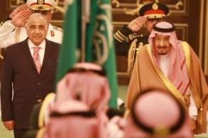 الملك سلمان مستقبلا عبد المهدي في القصر الملكي بالرباط اليوم