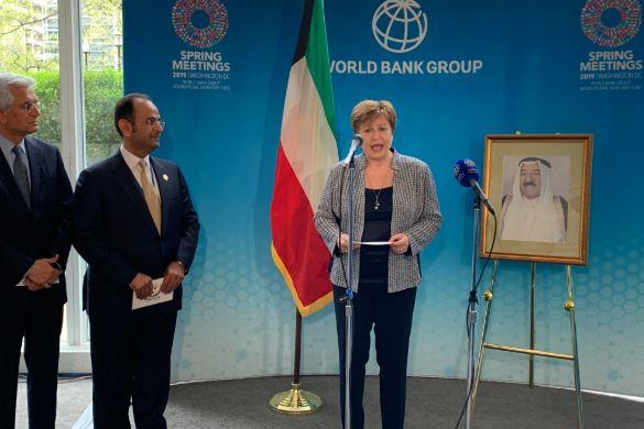 الرئيس التنفيذي لمجموعة البنك الدولي كريستالينا جورجيفا خلال مؤتمر الإعلان عن تكريم أمير الكويت