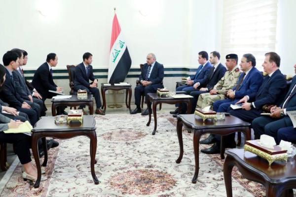 عبد المهدي مجتمعا مع هانغ بيونغ مستشار الرئيس الكوري الجنوبي