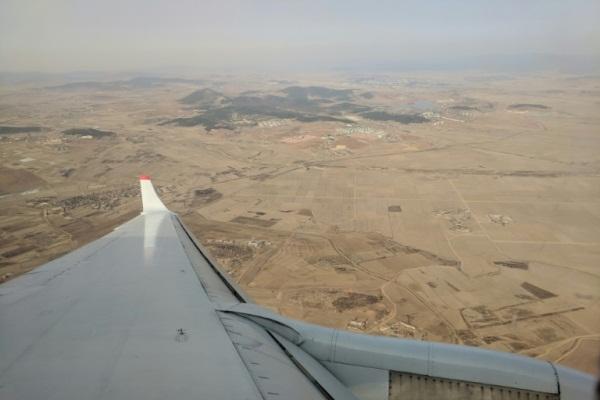 صورة مأخوذة من الطائرة في 12 فبراير 2019 تظهر الجفاف الذي يضرب أراضي بيونغ يانغ في كوريا الشمالية