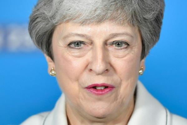رئيسة الوزراء البريطانية تيريزا ماي في بريستول بتاريخ 17 مايو 2019