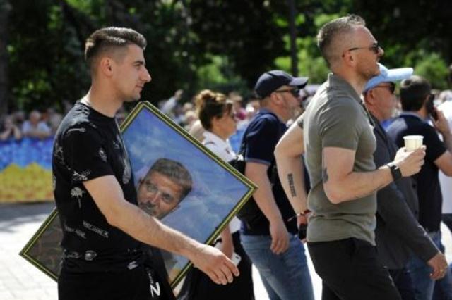 مؤيدون للرئيس الأوكراني الجديد فولوديمير زيلينسكي قبيل ختام مراسم التنصيب في كييف في 20 ايار/مايو 2019
