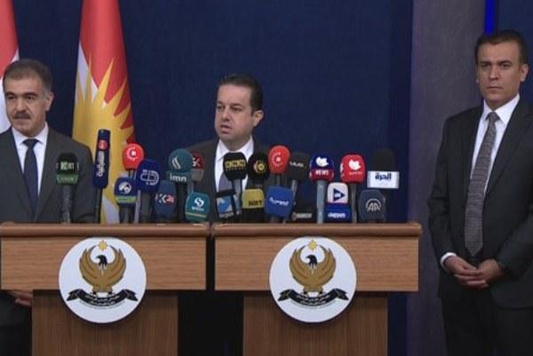 وزير مالية إقليم كردستان خلال مؤتمره الصحافي في أربيل اليوم
