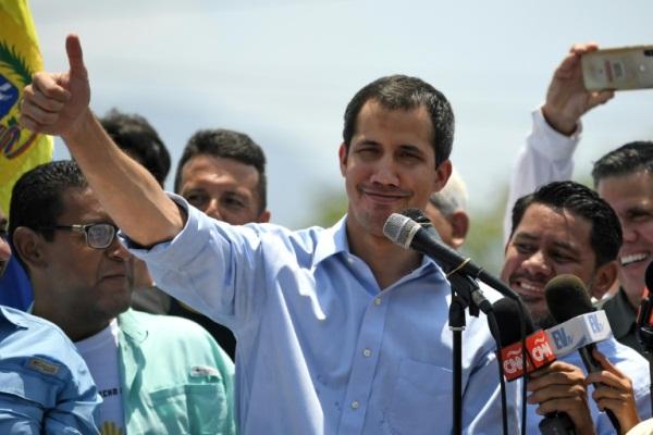 زعيم المعارضة الفنزويلية خوان غوايدو في ولاية ميراندا في 18 مايو 2019