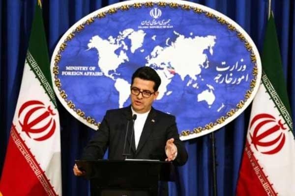 المتحدث باسم وزارة الخارجية الإيرانية عباس موسوي في مؤتمر صحافي في طهران في 28 مايو 2019