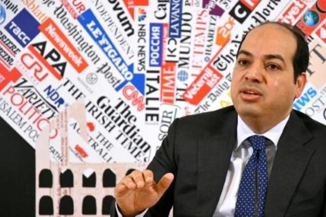 نائب رئيس حكومة الوفاق الليبية احمد معيتيق متحدثا في روما في 16 ابريل 2019