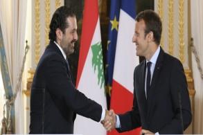 الرئيس الفرنسي إيمانويل ماكرون ورئيس الوزراء اللبناني سعد الحريري