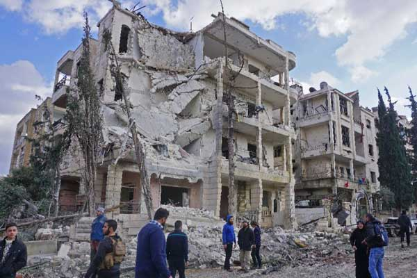 مبانٍ مدمرة في إدلب