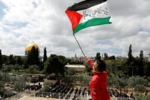 فتى يلوح بعلم فلسطيني كتب عليه