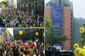 آلاف الإيرانيين يتظاهرون في بروكسل ضد نظام بلدهم