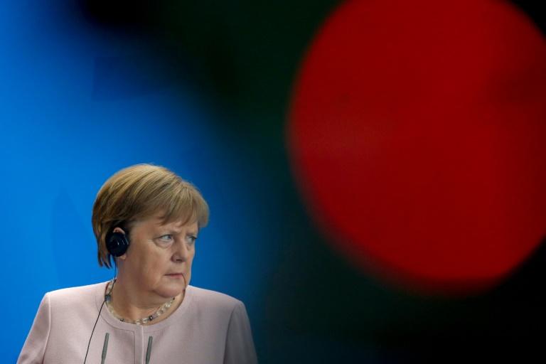 المستشارة الالمانية انغيلا ميركل خلال مؤتمر صحافي مع الرئيس الاوكراني في برلين في 18 يونيو 2019