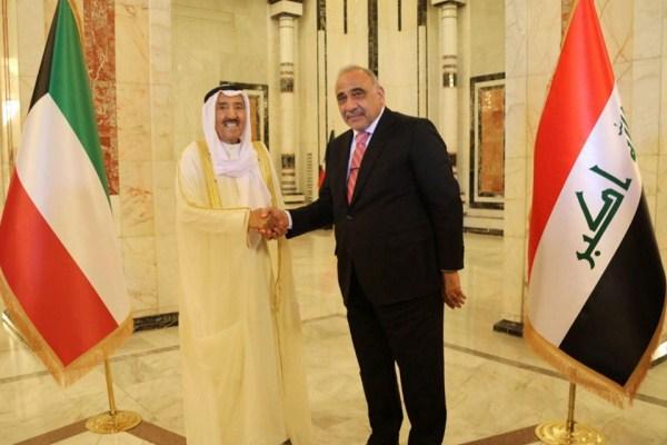 عبد المهدي وأمير الكويت خلال لقائهما في بغداد اليوم