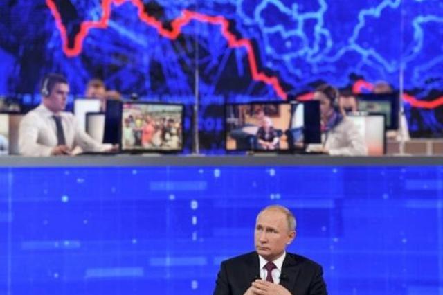 الرئيس الروسي أثناء اللقاء السنوي المتلفز مع الأمة في موسكو يوم 20 يونيو