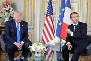 الرئيسان الاميركي دونالد ترمب والفرنسي ايمانويل ماكرون في 6 حزيران/يونيو 2019 في كاين (فرنسا)