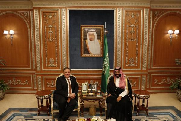 الأمير محمد بن سلمان وبومبيو خلال لقاء سابق